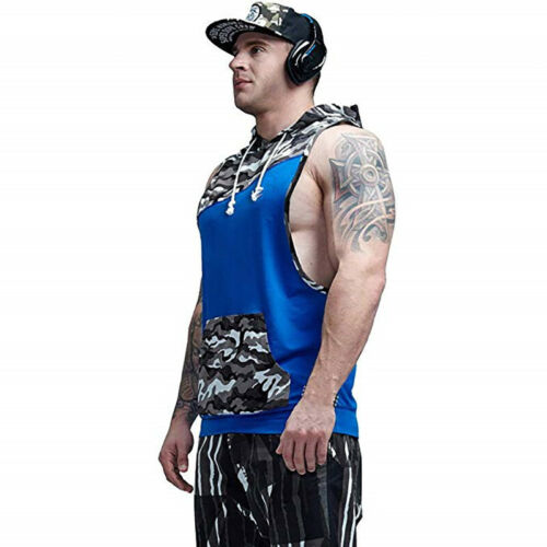 Men Gym Clothing Bodybuilding Stringer Hoodie Tank Top Muscle Hooded Shirt Tee