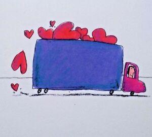 Unused-Valentine-Greeting-Card-Hallmark-Shoebox-TRUCK-Red-Hearts-NOS