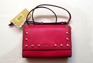 e6f10a1129f6 NWT Michael Kors Ruby Heart Stud Clutch Crossbody Bag Ultra Pink ...
