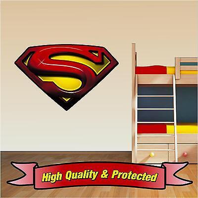 Superman Logo Wall Art Printed Vinyl Sticker Decal Childrens Bedroom Boys Girls