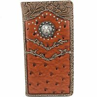 Western Cowboy Star Concho Men Tooled Ostrich Leather Bifold Wallet Checkbook