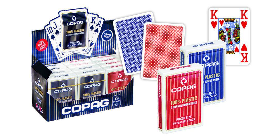Cartes Poker COPAG 100% Plastique JUMBO Index - 4 Corners - Box de 12 PROMO