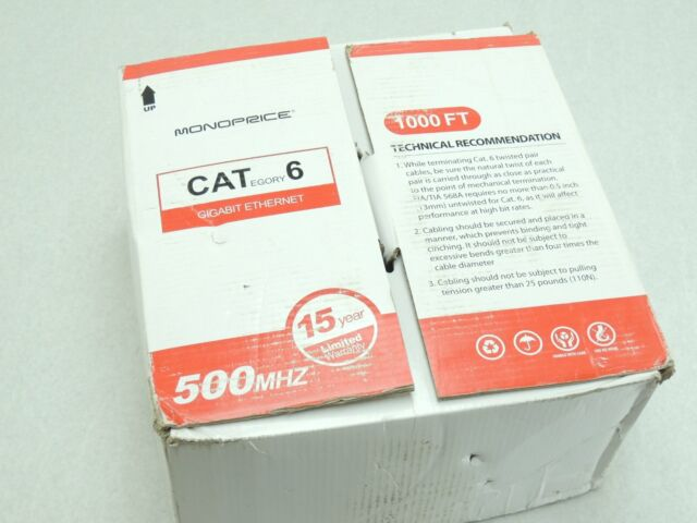 White Monoprice CAT 6 500MHz UTP 100FT Cable