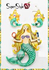 Enamel Mermaid Pendant Set Sea Life Chain Necklace Fashion Earrings
