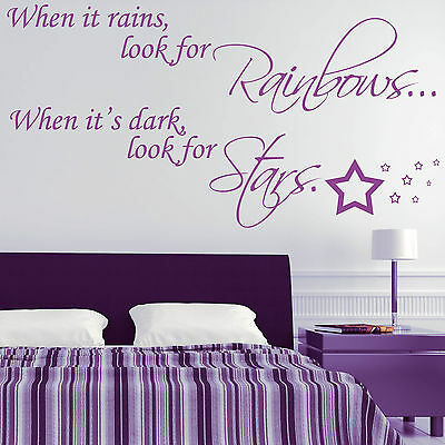 Wall Sticker Quote - Rainbows & Stars Motivational Inspirational Decal Art