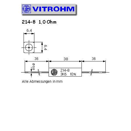 Draht-Widerstand  1 Ohm 9W 10/% 9x9x38mm liegend Vitrohm