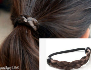 Fashion-Dark-Brown-Braid-Wig-Elastic-Hair-Band-Rope-Scrunchie-Ponytail-Holder