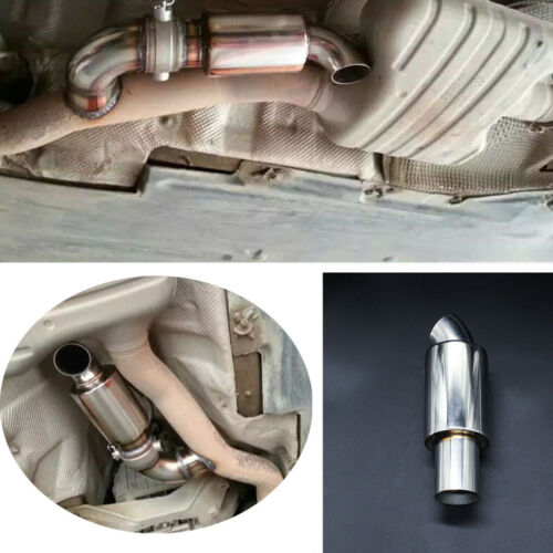 """Chrome Stainless Steel 2/""""Car Muffler Exhaust Pipe Tip Surface Polished Resonator"""