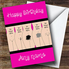Funny Joke Getting Old Pubic Hair Personalised Birthday Greetings Card
