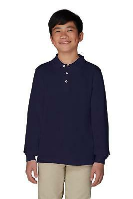French Toast Boys Long Sleeve Flat Back Rib Knit Pullover School Uniform Polo Shirt