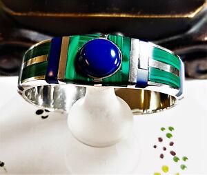 Vtg-Heavy-Taxco-Mex-Sterling-Blue-Lapis-Malachit-Inlay-Hinge-Bangel-Bracelet-189