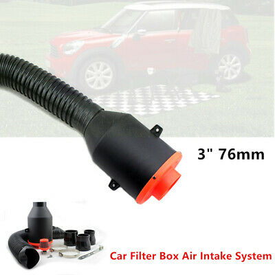 "76mm 3/"" Car Filter Box Title Carbon Fiber Induction Ram Cold Air Intake System"