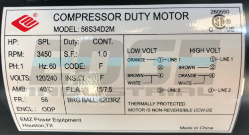 "2 HP SPL Compressor Duty Electric Motor 3450 RPM 56Frame 5//8/"" Shaft 120//240 VOLT"