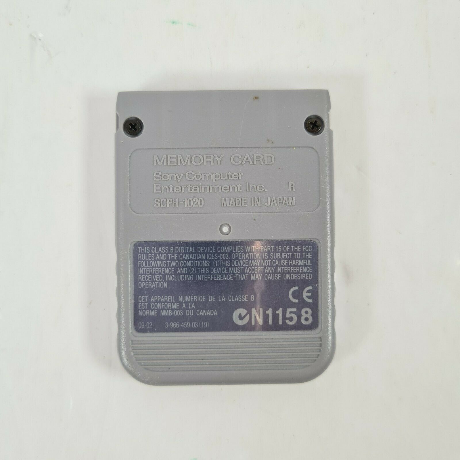 Grey Official PS1 Memory Card - Sony PlayStation 1 One SCPH-1020 free uk P&P