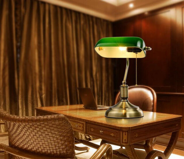 Retro Bank Design.Retro Table Lamp With Green Shade Living Room Bank Cafe Reading
