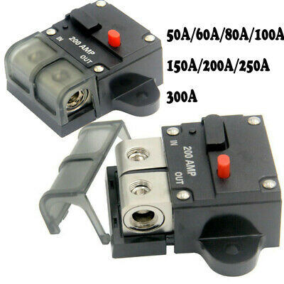 Car Audio 300Amp Circuit Breaker Manual Reset Fuse Holder Tool Switch Off cby