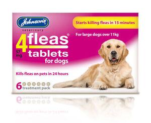 Johnsons-4-Tabletas-Pulgas-Para-Grandes-Perro-11KG-6-Paquete-de-Tratamiento-Pulgas-Asesino