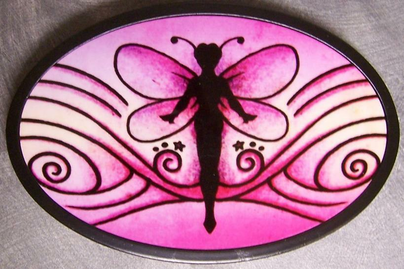 Metal TATTOO belt buckle Fairy Pink Swirl NEW