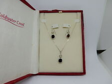 """Coldwater Creek Sterling Silver & Garnet 18"""" Necklace pendant and Earring Set"""