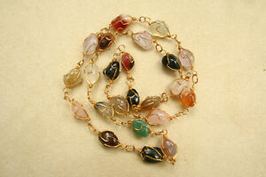 Wire-wrapped-Agate-Necklace-Multi-coloured-Gemstone-24-034-61cm-Vintage