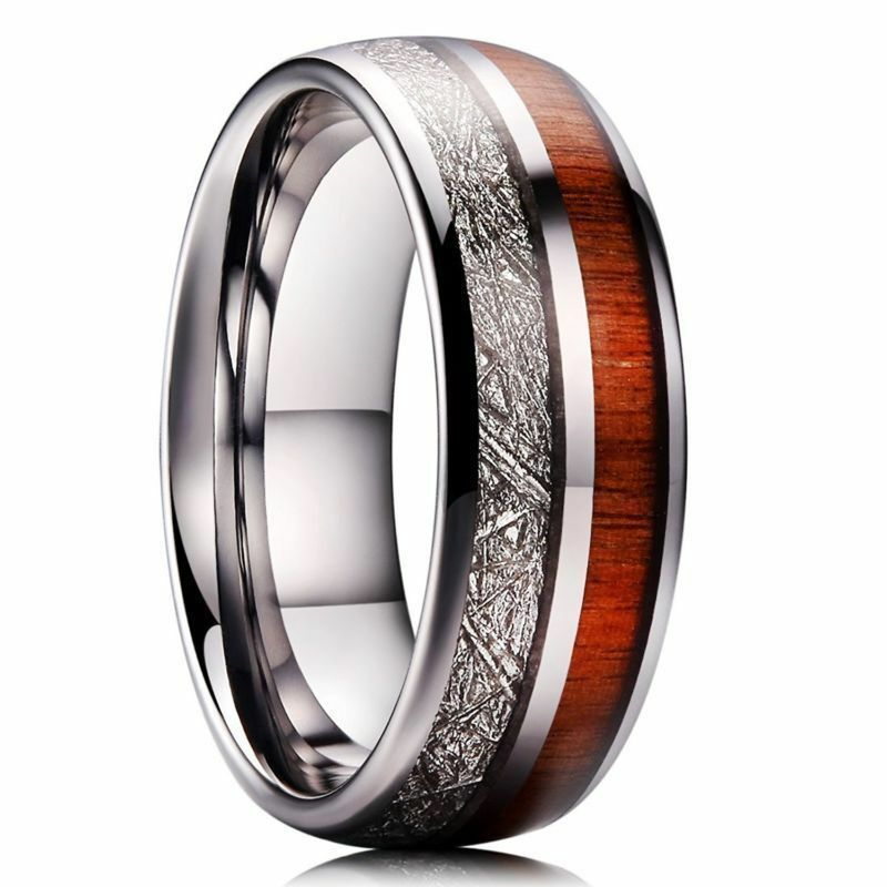 METEOR 8mm Mens Tungsten Carbide Wedding Ring Imitated Meteorite wood  NEW