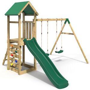 Rebo Adventure Playset Wooden Climbing Frame, Swing Set and Slide - Annapurna