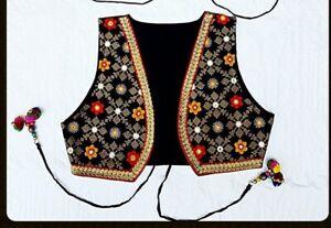 Womens Embroidered cropped Waistcoat Jacket Alternative Festival Hippy Boho