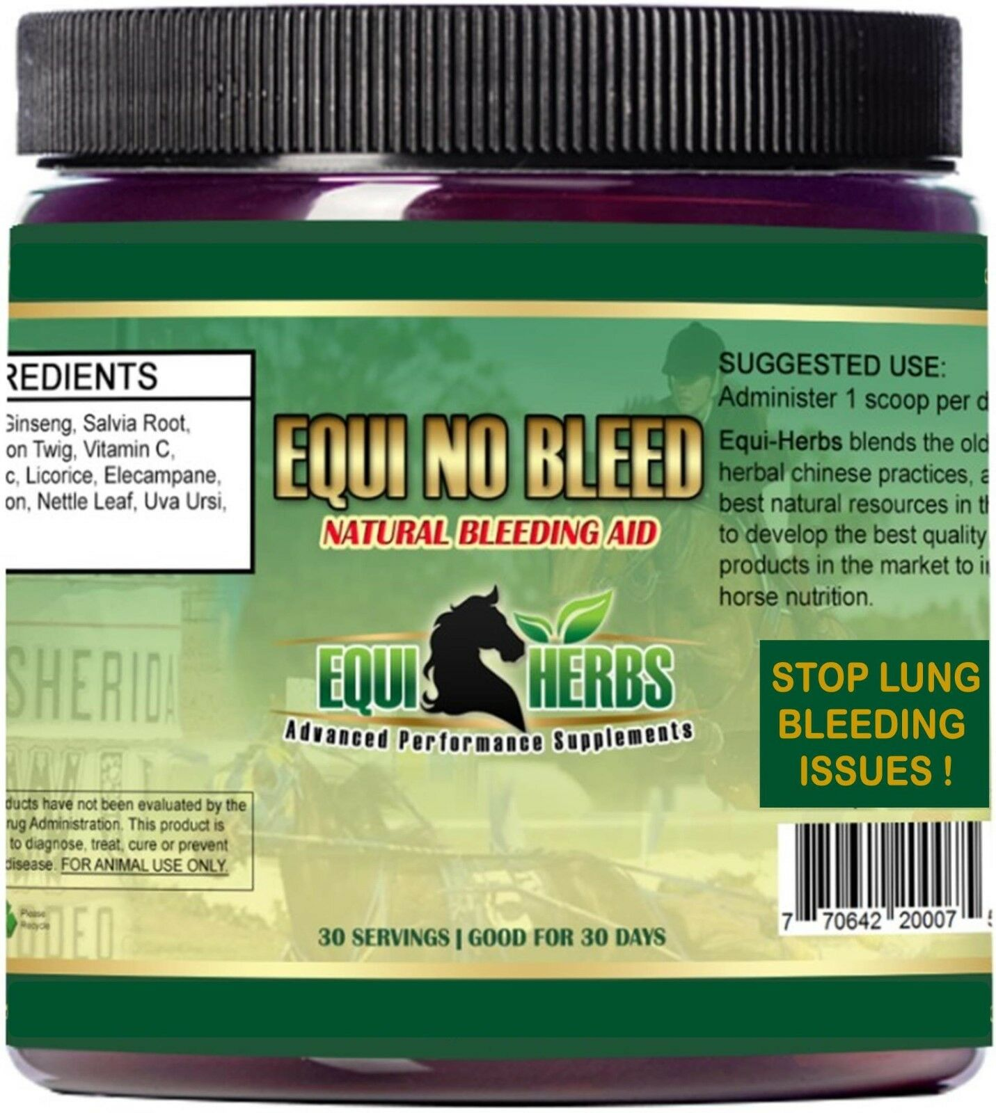 EQUI NO BLEED  Stop Equine Lung Bleeding Issues. Herbal Formula. 30 Day Supply