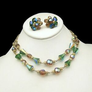 Vendome-Vintage-Green-Topaz-AB-Crystal-2-Strand-Necklace-Earrings-Set-Gold-Plate