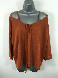 WOMENS-ASOS-FOX-BROWN-TIE-UP-COLD-SHOULDER-3-4-SLEEVE-TRANSLUCENT-BLOUSE-UK-14