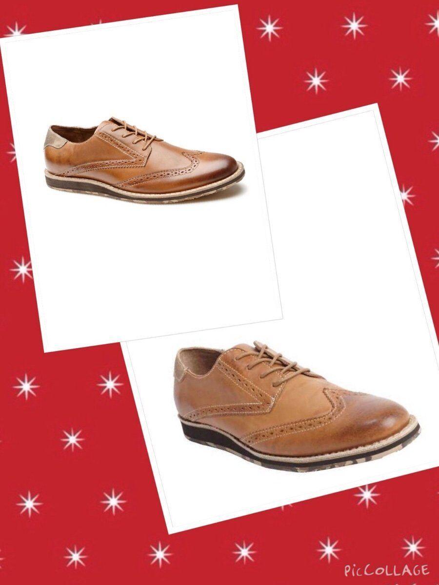 ORIGINAL PENGUIN SZ 8.5 Brown Leather Wingtip 'Dude' Oxfords Shoes New Scarpe classiche da uomo