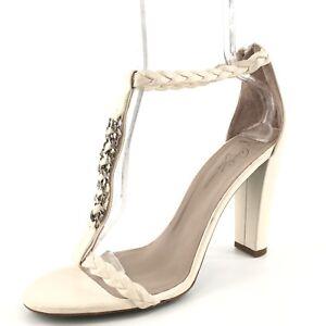 New Donald J Pliner Idella White Leather T Strap Sandals Womens Size 11 M 0*