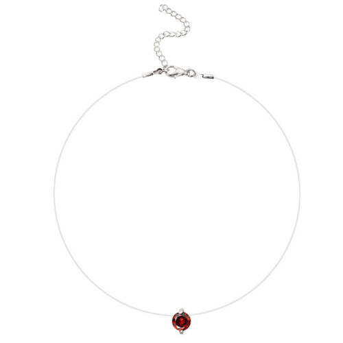 Invisible Transparent Fishing Line Zircon Pendant Necklace Choker Women JewelZP