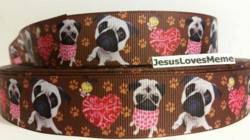 "Pug Doggies Grosgrain Ribbon Hot Pink Hearts Little Bee 1/"" Tan Paw Prints"