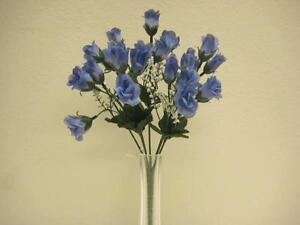 4 Bushes Blue Mini Rose Bud Artificial Silk Flower 12 Bouquet 21