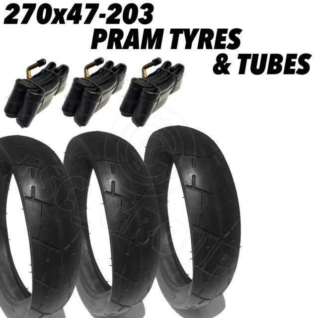 3x Quality Pram Tyres + Tubes 270x47-203 270 x 47 - 203 Pram Pushchair inc. Jane