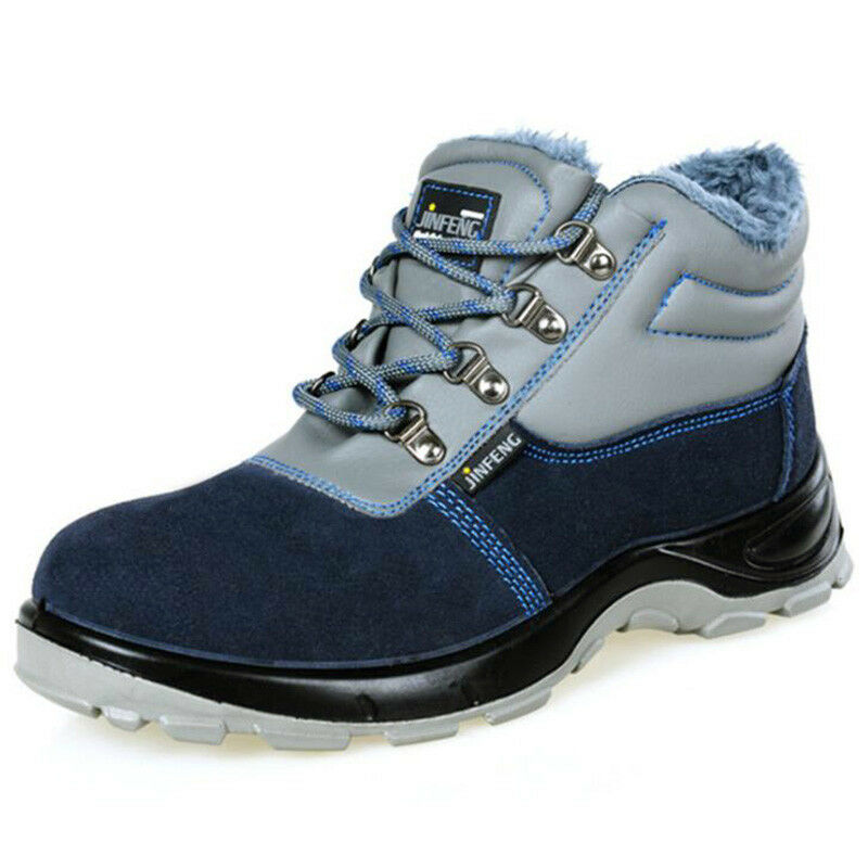 Unisex Fur Lined Steel Toe Work Thermal Winter Safety Ankle Boots Hiking shoes