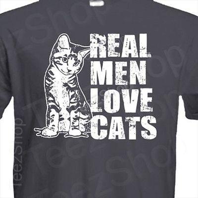 REAL MEN LOVE CATS funny animal pet lover cat present gift rescue kitten T-shirt