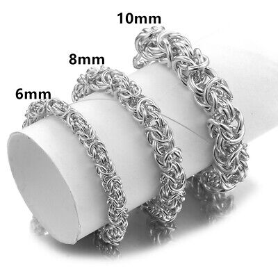 6//8//10MM High Quality Stainless Steel Silver Byzantine Chain Men//Women Necklace