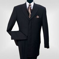 Men's 2 piece Milano Moda 4 Hidden button With 3 Back Splits Suit Black 5605