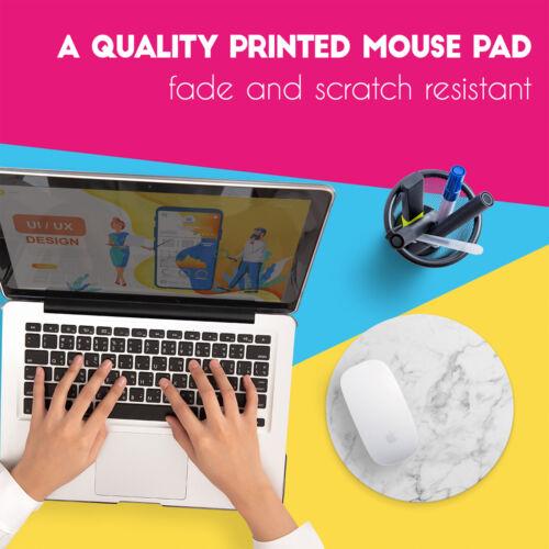 Round White Marble Cool UK Non Slip Mouse Mat Pad PC Laptop Gaming