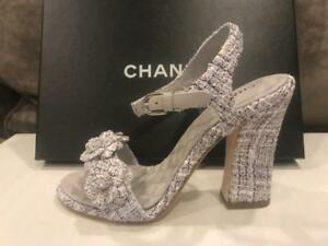 5fff5b16c02 Image is loading CHANEL-18P-Tweed-Camellia-Flower-Ankle-Strap-Sandals-