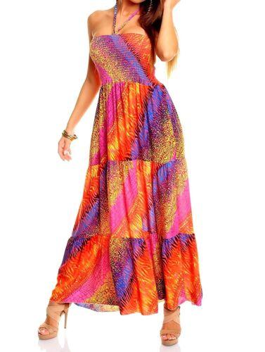 Maxikleid Kleid bunt Neckkleid Bandeau 36 38  Sommerkleid lang pink rot gelb