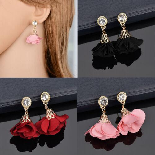 Women Girls Flower Crystal Rhinestone Ear Stud Drop Dangle Earrings Jewelry 2H