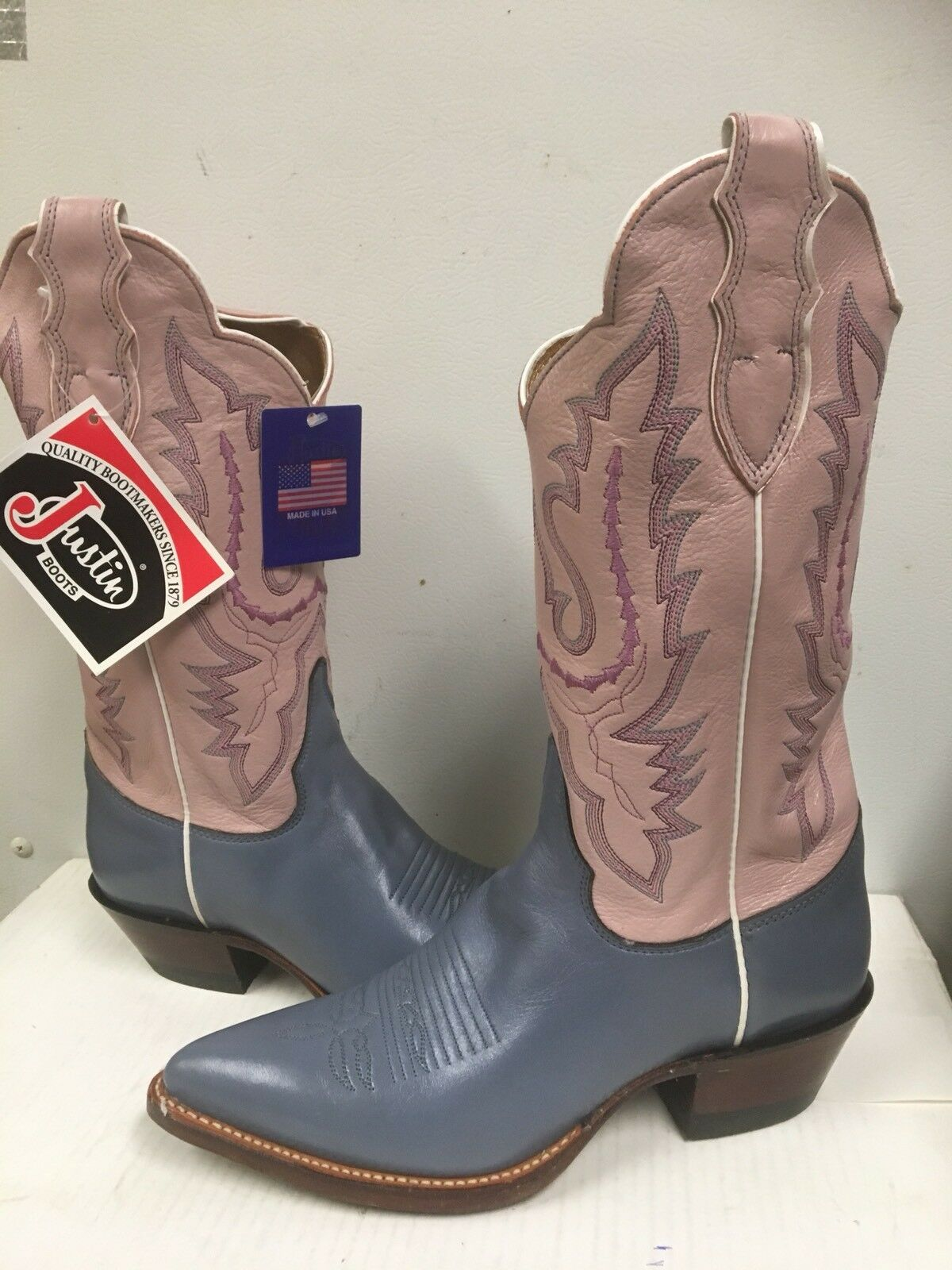 Justin Boots Women's Western Boots  L2654 PINK Point  Size 8 B NEW