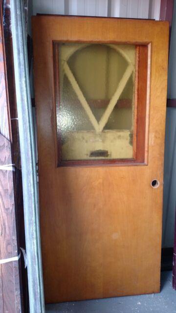 Gentil VINTAGE EXTERIOR DOOR SOLID WOOD DOOR WITH YELLOW GLASS APPROX 36 X 79