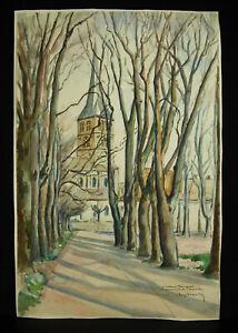 Rob-Beaulieu-1940-Disegno-Originale-Acquerello-per-Mrs-Maingard-Chiesa-Di