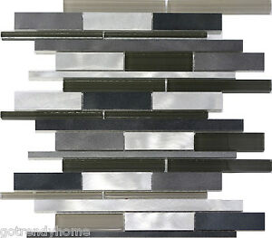 10 sf metal stainless steel linear glass mosaic tile