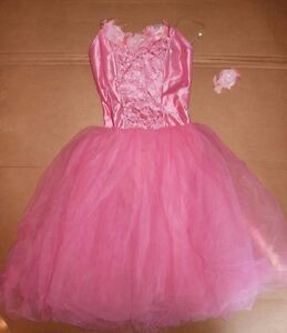NWOT-Rose-Accented-Taffeta-Ballet-Costume-4-Layer-Tulle-Attached-Skirt-ch-ladies