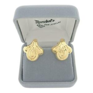 Ladies-14K-Yellow-Gold-Fashion-Pierced-Earrings-Omega-Backs